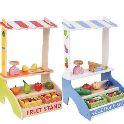 Wooden Toy Fruit Stand Vegetable Stall Portable Vegies Shop Compact Small