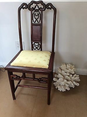 Chinese Side Chair Carved Wood Napoleonic Bee Yellow Designer Fabric Seat Vtg