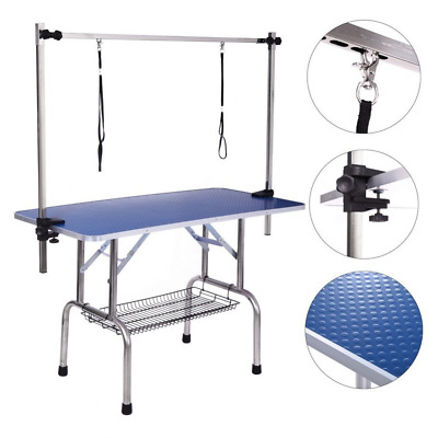 Dog Grooming Table, Adjustable Clamp Overhead Pet Grooming Arm with Double Groom