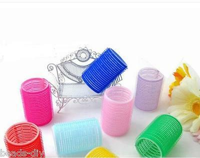 6Pcs/1Set DIY New Big Self Grip Hair Rollers Cling Any Size Hair Curlers Acess