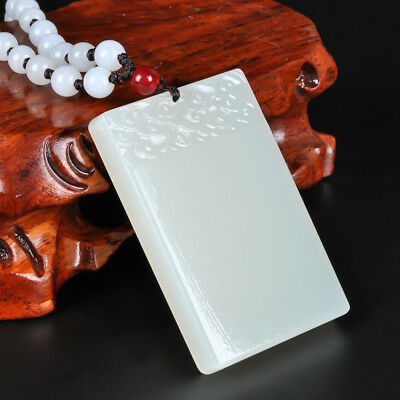Chinese handcarved Fine Natural Nephrite White Jade Bless Safe pendant necklace
