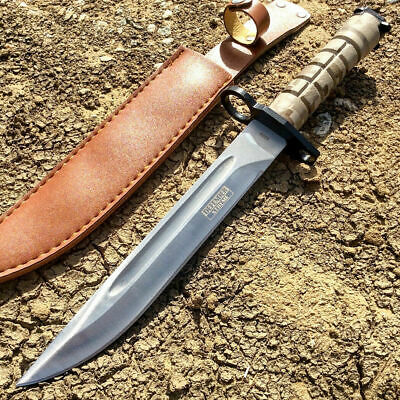 "13.5"" Fixed Blade Tactical Hunting Knife survival W Camo Bayonet Leather Sheath"