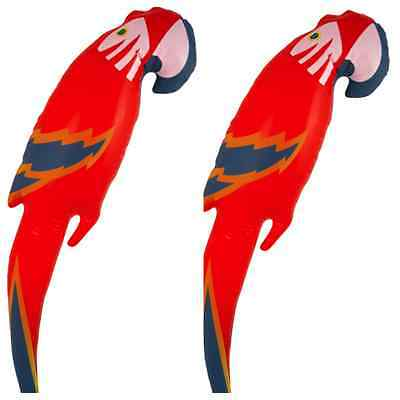 2 x Inflatable Blow Up Parrots 48cm Hawaiian Pirate Party Decorations Hen Night