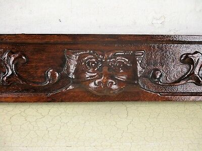 Gothic Corbel Hand Carved Wood Pediment Overdoor Architectural Dragon Lion Head