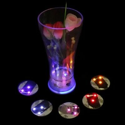 LED Coaster Tableware Glow Bar Club Party Color Change Light Up Drink Mat Cup S1