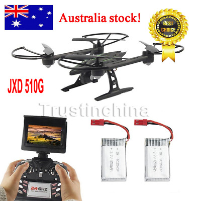 JXD 510G RC Drone Quadcopter W/ Monitor Camera 5.8G FPV Altitude Hold 3x Battery