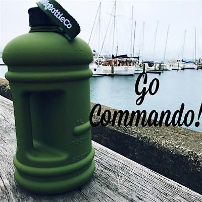 Official the BIG BOTTLE Company Commando Black Frosted 2.2litre Daily Intake Wat