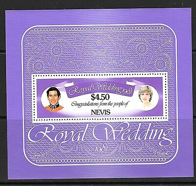 Nevis Sgms78 1981 Royal Wedding Mnh
