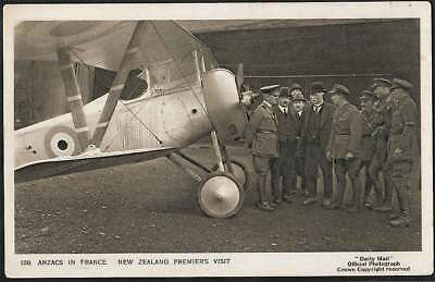 WW1 ANZACS IN FRANCE NZ PREMIERS VISIT Official Photo DAILY MAIL POSTCARD 20/159