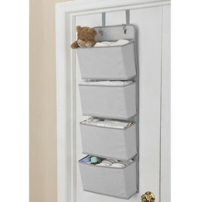 4-POCKET NURSERY ORGANIZER Over-the-Door Dove Grey with White Polkadot NEW DELTA