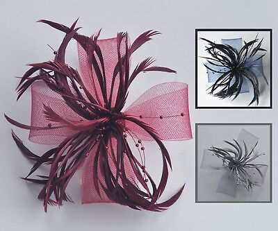 Navy, silver grey or burgundy mesh, feather & pearl fascinator hair clip/corsage