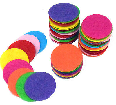 50-200 Large Round Multi Colour Felt Circles Pad 25MM - 40MM Crafts Sewing 1249