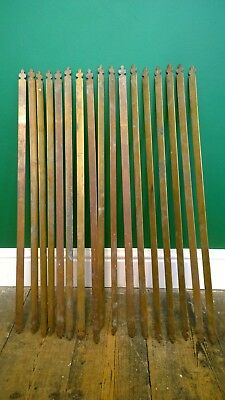 Set Of 17 Reclaimed Edwardian Brass Stair Rods Fleur De Lis Trefoil