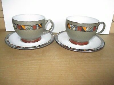 Denby Pottery Marrakesh 2 x Breakfast Cups & Saucers Excellent Condition