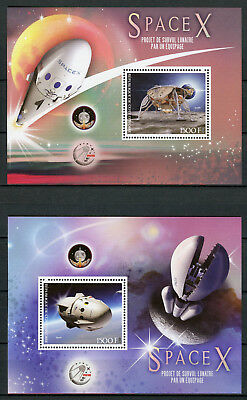 Ivory Coast 2017 MNH SpaceX Flight to Moon Project 2x 1v S/S Space Stamps