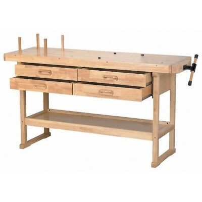 "60"" Hardwood Workbench 4 Lined Drawers & 7"" Wood Block Vise *Local Pickup Only*"
