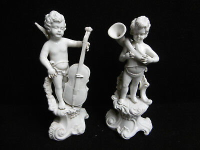 Paire d'Anges musiciens en porcelaine, Biscuit, Angelot Angel Putti Chérubin