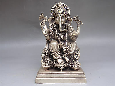 "6.0"" Rare collection Old Nepal Tibetan Tibetan Silver Carved positive Ganesha"