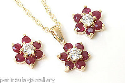 9ct Gold Ruby Pendant and Earring set Made in UK Gift Boxed