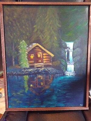 acrylic painting on canvas cabin in the woods framed original