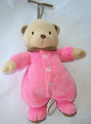 Carters Musical Pink Brown Teddy Bear Plush Baby Crib Toy Twinkle Little Star