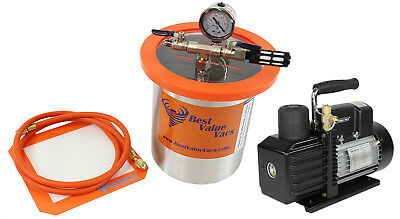 Best Value Vacs 1 Gallon Tall SS Vacuum Chamber and VE225 4CFM 2 Stage Pump Kit