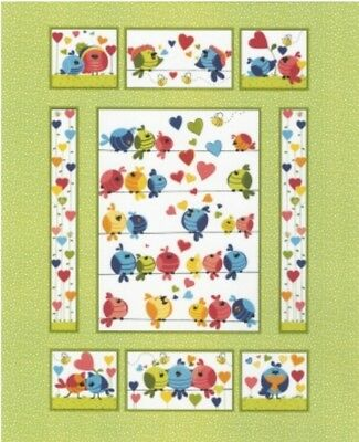 Susybee Evie The Bird Quilt Panel * New * So Cute * Free Post *