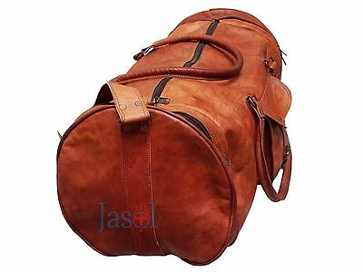 1b07386a88 Men s genuine Leather large vintage duffel travel gym weekend overnight bag  24