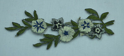 BLUE AND WHITE FLOWERS TRIM  Embroidered Sew Iron On Cloth Patch Badge APPLIQUE