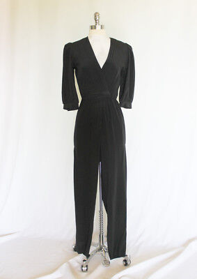 Vintage 1940s 50s 70s Style Black Rayon One Piece Hourglass Jumpsuit