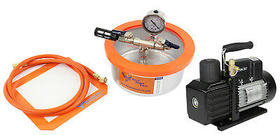 Best Value Vacs 2 Quart Stainless Steel Flat Vacuum Chamber and VE225 4CFM 2 Sta