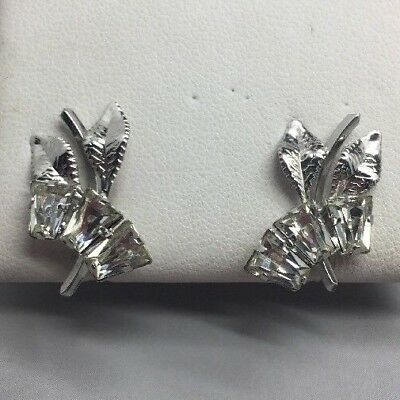 Gorgeous pair of vintage sterling silver and clear rhinestone screw on earrings!