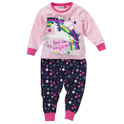 Cozy n Dozy Girls Unicorn Pyjama Set Rainbow Stars Love To Daydream Pink 2-7yrs