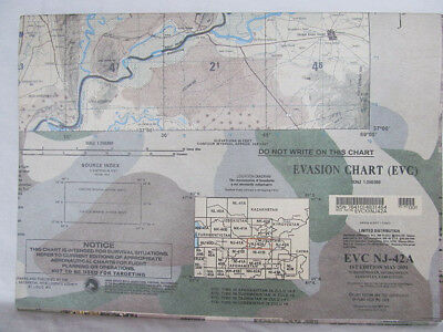 "US Military 58""x41"" Evasion Chart NJ-42A 1st Ed May 2001 Turkm Afgh Tajik Uzbek"