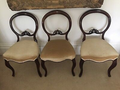 3/6 Antique Balloon Back Chairs Believe Mahogany ,  Victorian