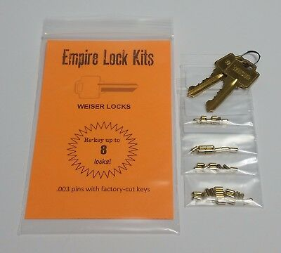 Rekey Kit For Weiser Rekey Up To 8 Locks Bottom Rekeying Pins Factory Cut Keys