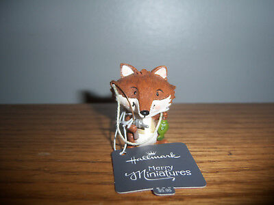 Hallmark Merry Miniatures Fox fishing with tag 2016