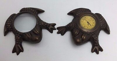 Cast Bronze Frog Magnifying Glass & Clock Set Paperweights