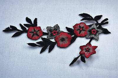 DK RED + BLACK FLOWER TRIM 6' Embroidered Sew Iron On Cloth Patch Badge APPLIQUE