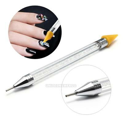 Pro 1Pc Dual-Ended Wax Nail Rhinestone Picker Dotting Pen Handle Manicure Tool