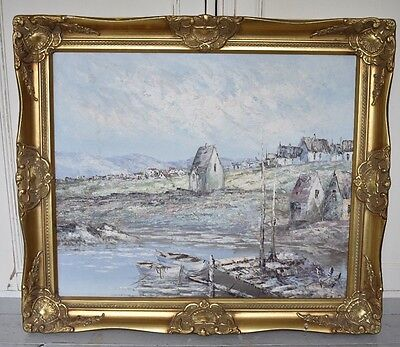 Large Gold Gilt Ornate Framed Oil Painting By The Sea Scene Sea Shore