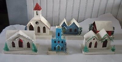 6 Cardboard Putz Houses JAPAN Mica Loofah Trees Cellophane Christmas Village