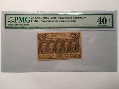 25 Cents First Issue United States Fractional Currency Note Bill - PMG EF 40 EPQ
