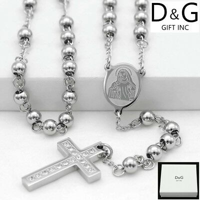"DG 26""Stainless-Steel 6mm Beaded Rosary VIRGIN MARY,CROSS CZ Necklace Unisex*BOX"