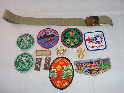 Vintage 1960's BOY SCOUTS OF AMERICA LOT 9 Patches 3 Pins 1 Belt BSA!