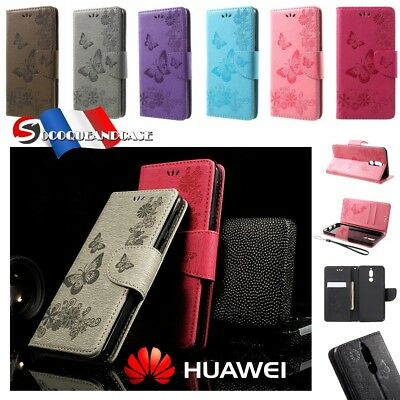 Etui Folio coque housse Cuir PU Leather case cover Huawei Mate 10 P8 lite Y5 Y6