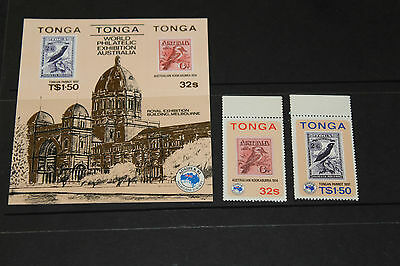 Tonga 1984  Ausipex  Minature Sheet & Set Of 2  Fine M/n/h Cond