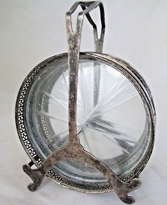 """ANTIQUE WEBSTER STERLING SILVER ETCHED GLASS 5 COASTERS WITH CADDY """"as is"""""""