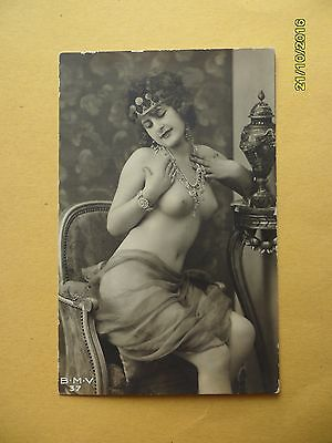 Original French 1910's-1920's Nude Risque Postcard Sexy Lady wears crown #52