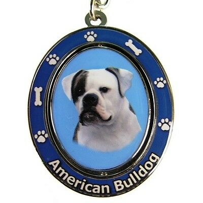 American Bulldog Dog Spinning Key Chain Fob
